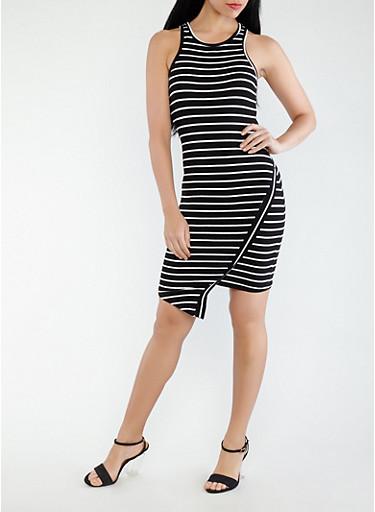 Striped Asymmetrical Tank Dress,BLACK/WHITE,large