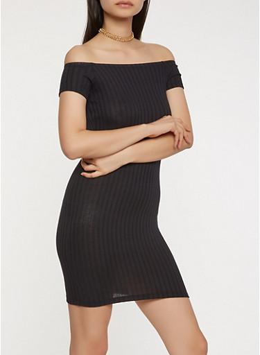 Ribbed Knit Off the Shoulder Dress,BLACK,large