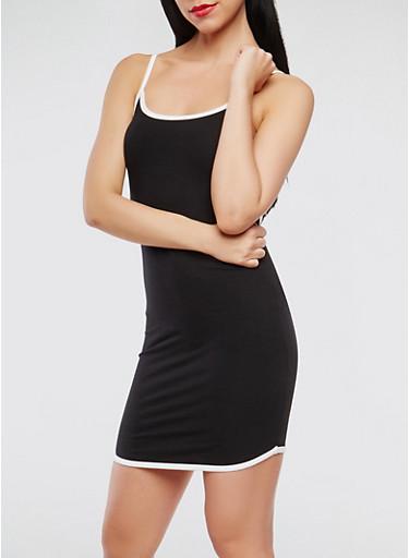 Contrast Trim Tank Dress,BLACK/WHITE,large