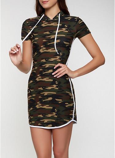 Varsity Stripe Hooded Camo Dress,OLIVE,large