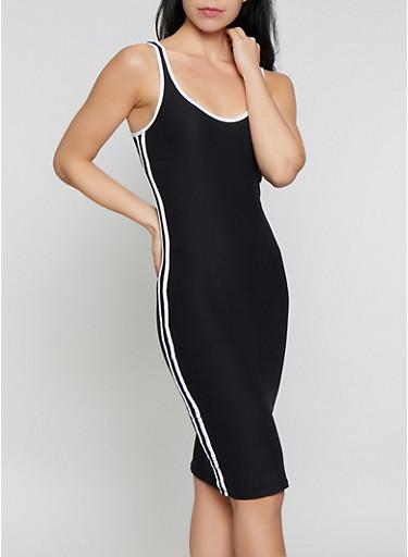 Contrast Trim Soft Knit Tank Dress,BLACK,large