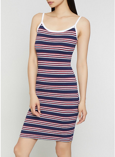 Striped Contrast Trim Cami Dress | 0094061639753,NAVY,large
