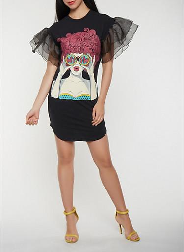 Pop Art Graphic Tiered Sleeve T Shirt Dress | Tuggl