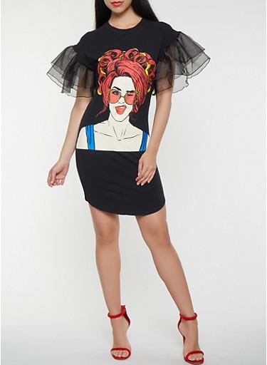 Pop Art Graphic Tiered Sleeve T Shirt Dress,BLACK,large