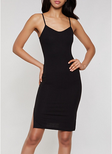 Ribbed Cami Dress,BLACK,large