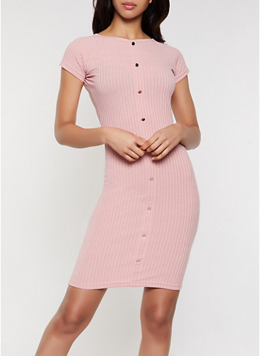 Ribbed Button Bodycon Dress,MAUVE,large