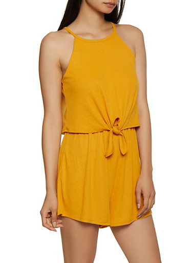 Ribbed Tie Front Romper,MUSTARD,large