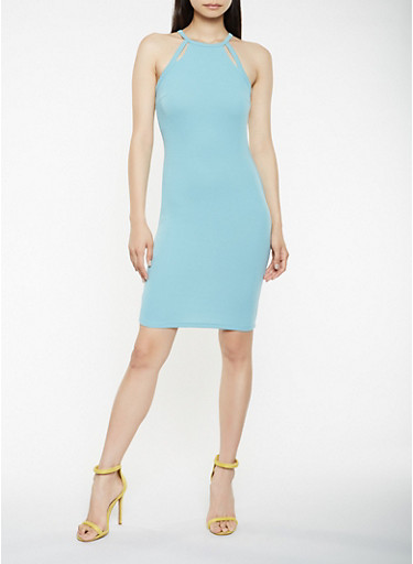 Textured Knit Cut Out Bodycon Dress,TURQUOISE,large