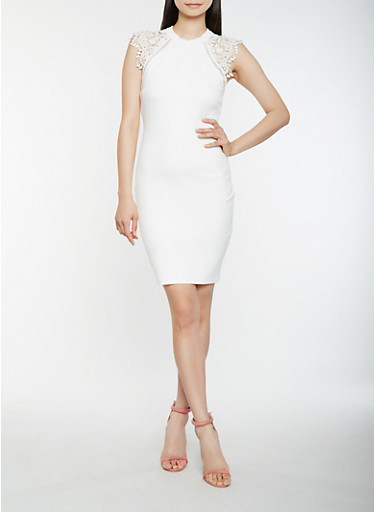 Crochet Trim Midi Dress,WHITE,large