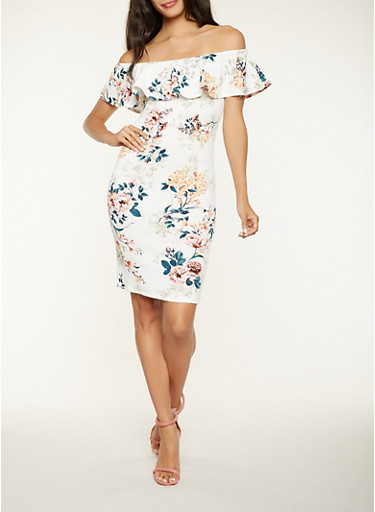 Off the Shoulder Floral Midi Dress,IVORY,large