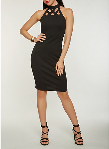 Caged Neck Bodycon Dress,BLACK,large