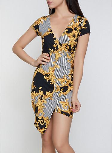 Striped Status Print Faux Wrap Dress,BLACK,large