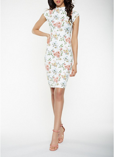 Printed Soft Knit Bodycon Dress,IVORY,large