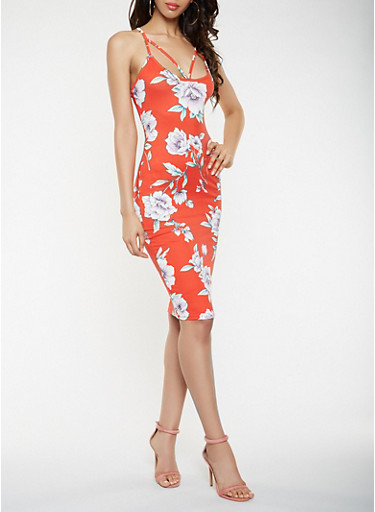 Caged Floral Bodycon Dress,RED,large