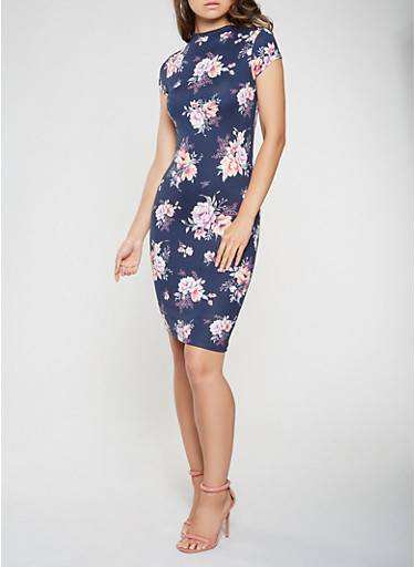 Floral Soft Knit Bodycon Dress,NAVY,large
