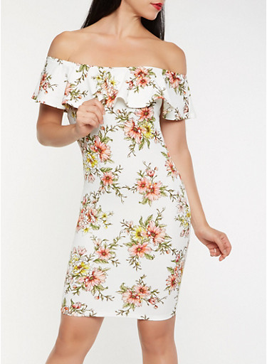 Floral Off the Shoulder Bodycon Dress,IVORY,large