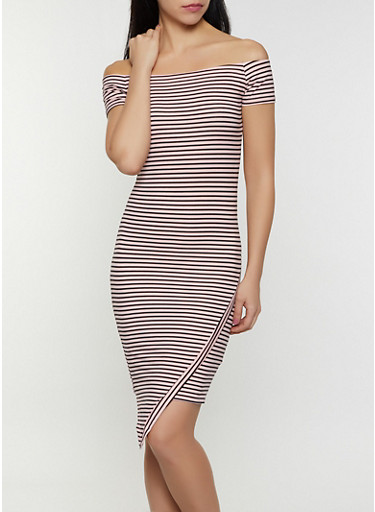 Off the Shoulder Asymmetrical Striped Dress,MAUVE,large