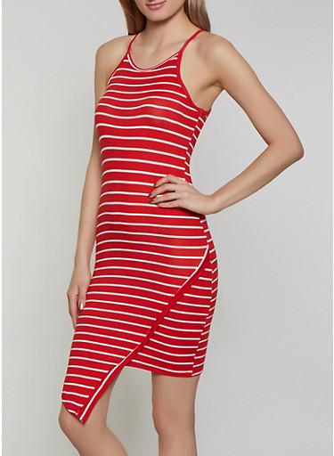 Asymmetrical Hem Striped Tank Dress,RED,large