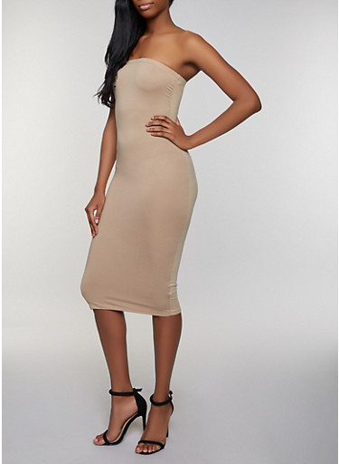 Ruched Solid Tube Dress,TAN,large