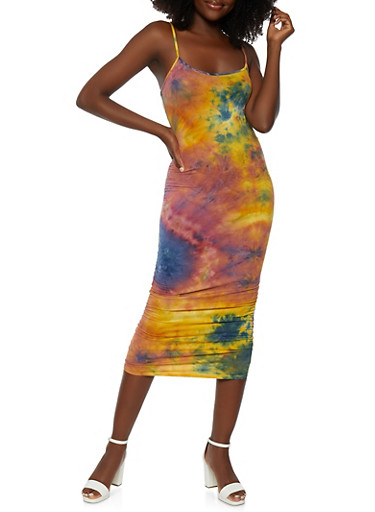Tie Dye Ruched Side Cami Dress,GREEN,large