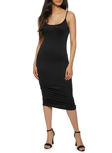 Ruched Midi Cami Dress,BLACK,large