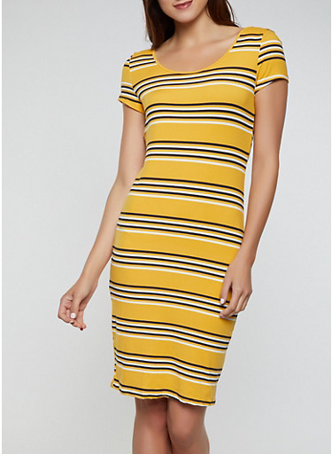 Striped Scoop Neck T Shirt Dress,MUSTARD,large