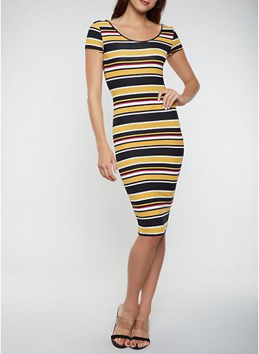 Striped Soft Knit T Shirt Dress,MUSTARD,large