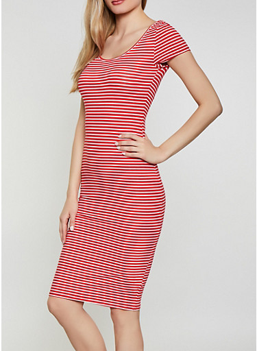 Striped Soft Knit Bodycon T Shirt Dress,RED,large