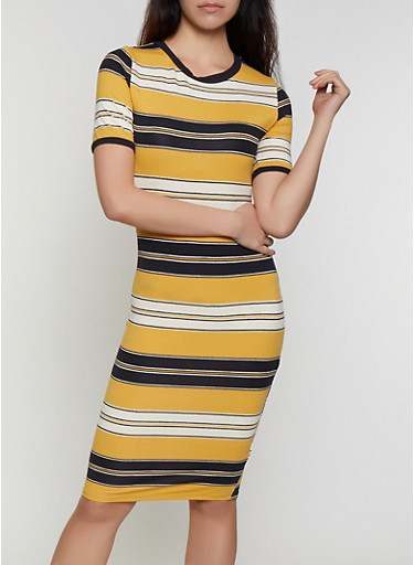 Striped Soft Knit T Shirt Dress | 0094073372308,MUSTARD,large