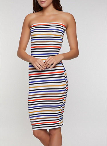 Striped Tube Dress | 0094073372408,RYL BLUE,large