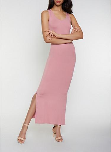 Soft Knit Racerback Tank Dress,MAUVE,large
