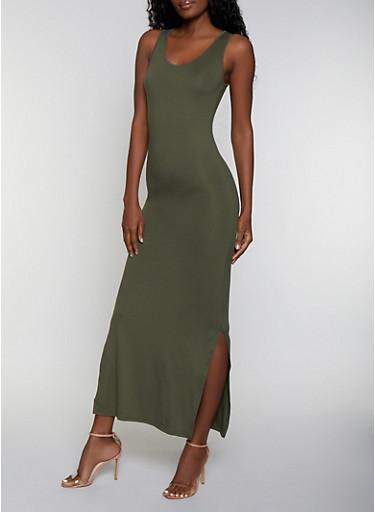 Side Slit Solid Tank Maxi Dress,OLIVE,large