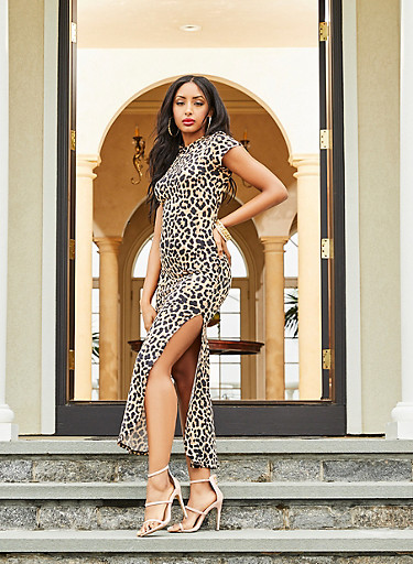 Cut Out Back Leopard Maxi Dress,BROWN,large