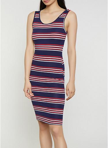 Soft Knit Horizontal Stripe Tank Dress,NAVY,large
