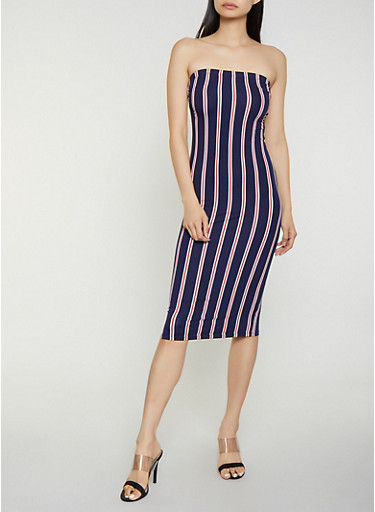 Striped Soft Knit Midi Tube Dress,NAVY,large