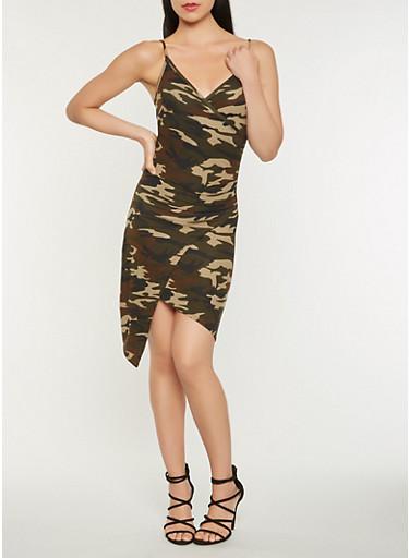 Camo Faux Wrap Tank Dress,GREEN,large