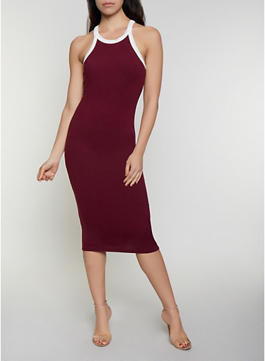 Soft Knit Contrast Trim Tank Dress,BURGUNDY,large