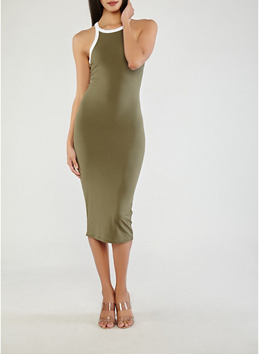Soft Knit Contrast Trim Bodycon Dress,OLIVE,large