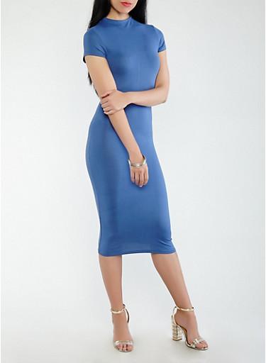 Soft Knit Midi Dress,DENIM,large