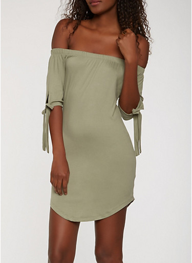 Soft Knit Off the Shoulder Dress,SAGE,large