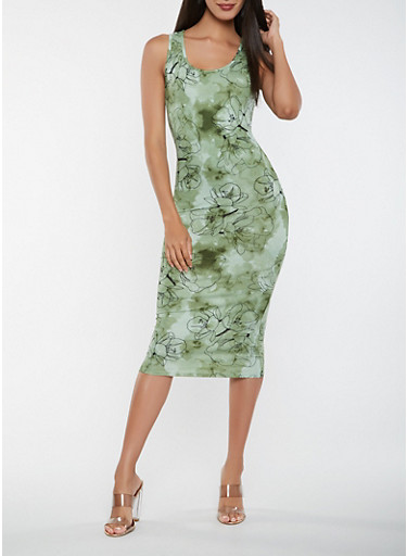 Tie Dye Midi Tank Dress,OLIVE,large