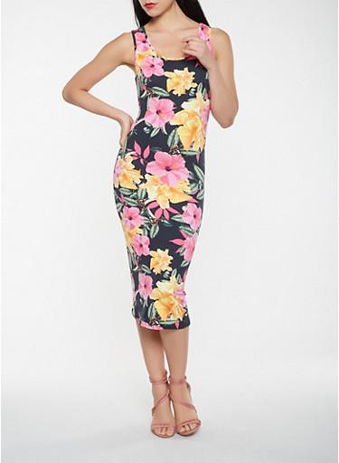 Floral Soft Knit Tank Dress,BLACK,large