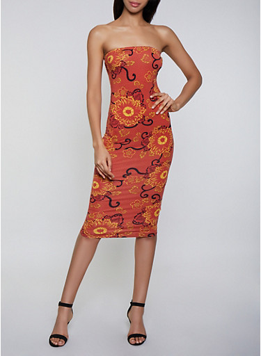 Flower Print Tube Dress,RUST,large