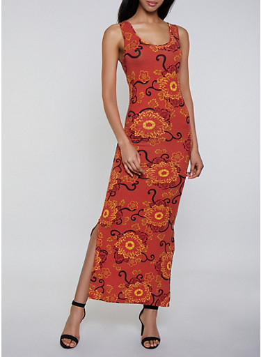 Flower Print Soft Knit Maxi Dress,RUST,large