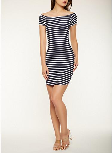 Striped Off the Shoulder Dress,NAVY,large