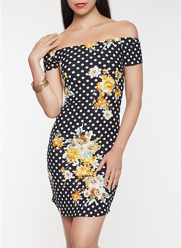 Printed Off the Shoulder Dress,MUSTARD,large