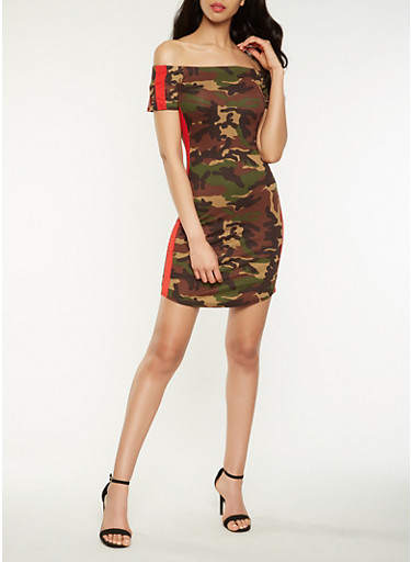 Side Stripe Camo Off the Shoulder Dress | Tuggl