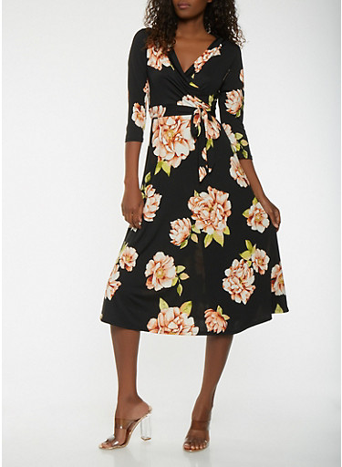 Floral Faux Wrap Midi Dress | Tuggl
