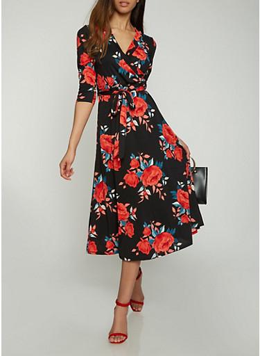Faux Wrap Floral Midi Dress,BLACK,large