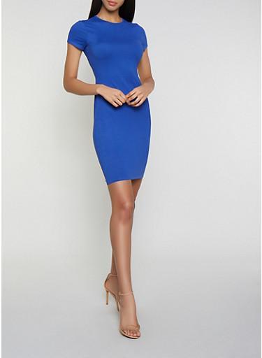 Solid Soft Knit T Shirt Dress,RYL BLUE,large